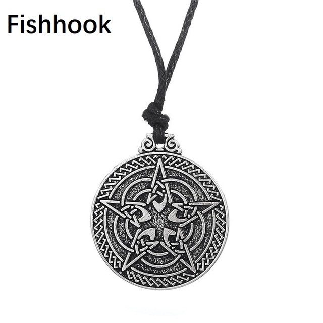 Fishhook Cabalistic Pentacle For Protection Necklace Wiccan Jewelry