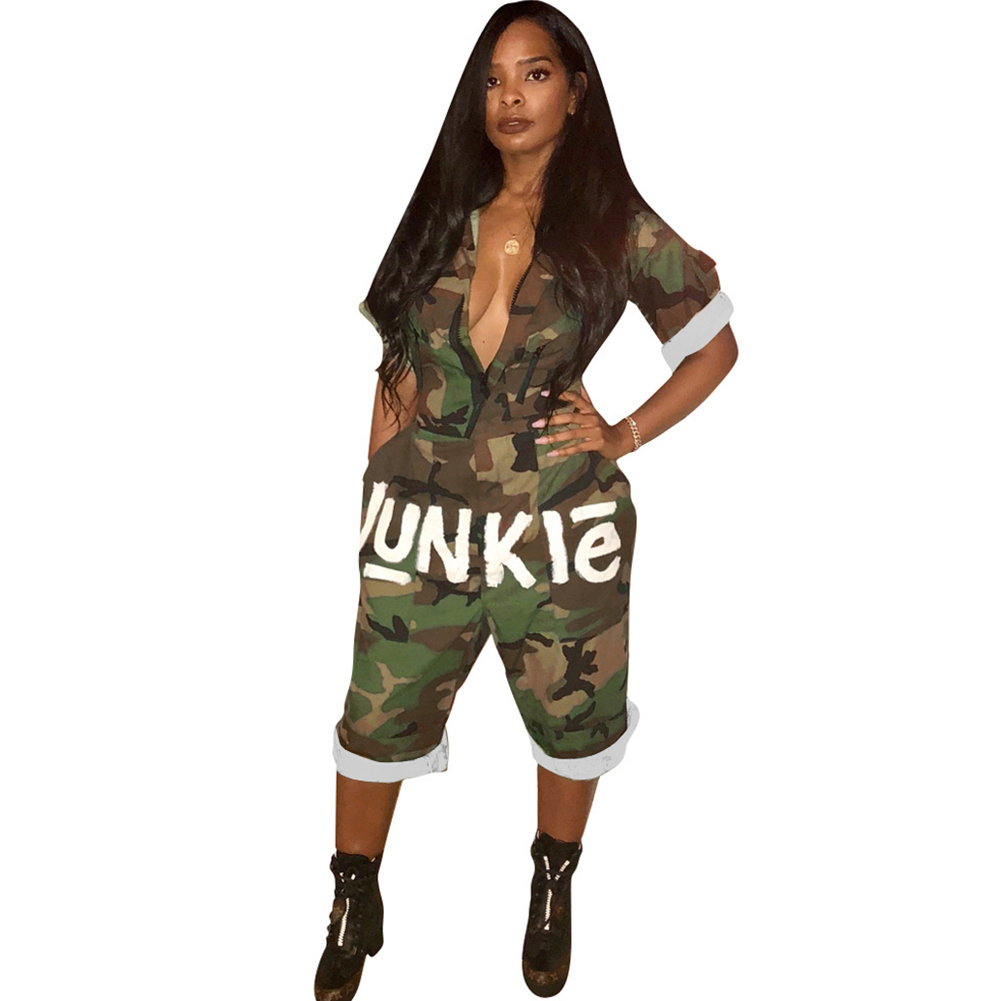 New Arrival USA Independence Day   Jumpsuits   Sexy Loose Camouflage Playsuits Women's Camo Overalls Printed Jungle   Jumpsuit   Shorts