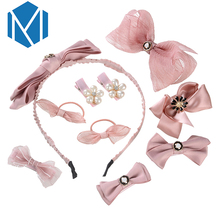 M MISM 1 Set=10pcs Solid Bow Hairpins Children Girl Headdress Bow-knot Hair Bands with Simulated Pearl Scrunchy Accessories