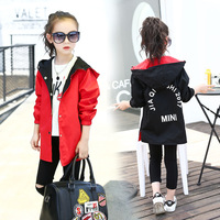 Girls Hooded Reversible Jacket Red Black Straight Casual Coat For Kids 3 15Year Spring Autumn Clothes