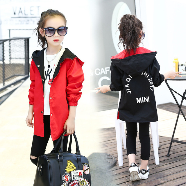 low priced dbee7 958ea Girls Hooded Reversible Jacket Red Black Straight Casual Coat For Kids  3-15Year Spring Autumn Clothes Casacos Uniform Streetwear