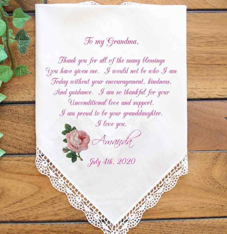 Wedding Handkerchief For Mom and Dad Wedding Favour #36 Gift for Parents Personalised Wedding Handkerchief