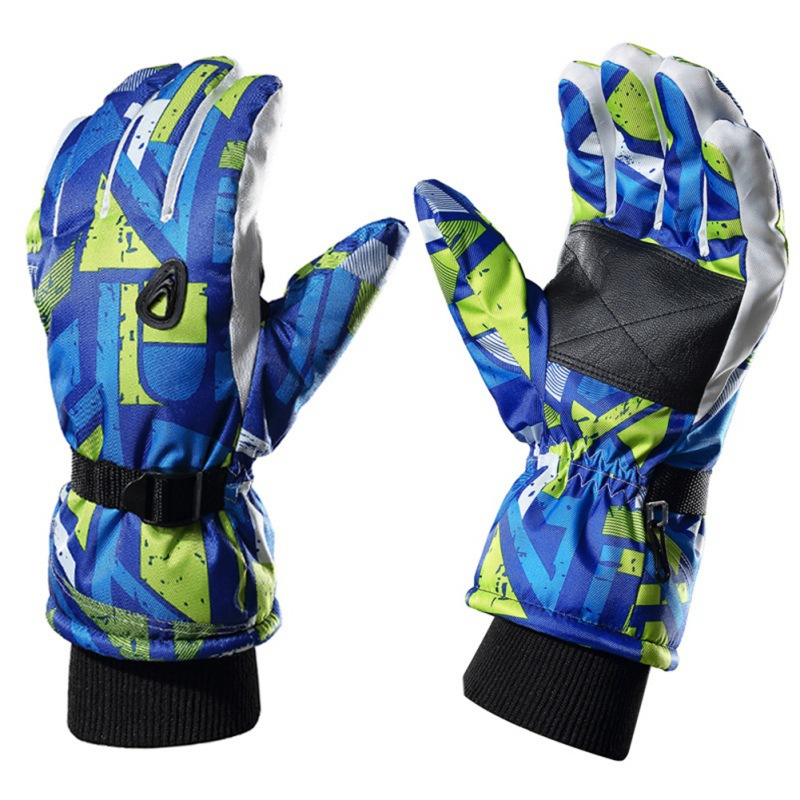Muticolor Print Winter Men Snowboard Gloves Ski Gloves Snowmobile Motorcycle Skiing Riding Climbing Waterproof Snow Gloves