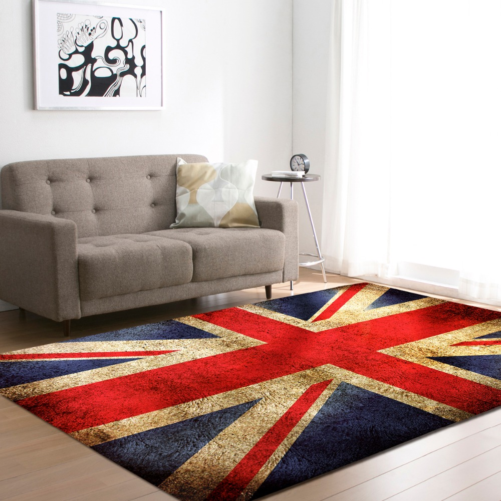 Nordic Style Living Room Carpets Soft Flannel National Flag Area Rugs Kid's Room Crawling Play Mat Rugs Large Rug And Carpet