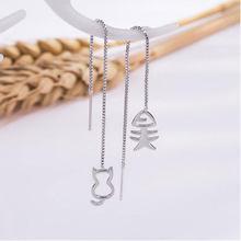 ANENJERY – longues boucles d'oreilles asymétriques en argent Sterling 925, en forme d'os de poisson ou de chat, pour femmes