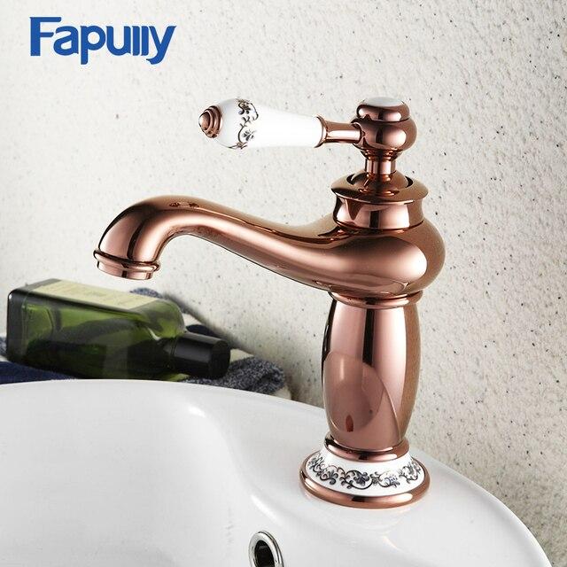 Fapully Ceramic Decoration Bathroom Basin Sink Faucet Rose Gold Single  Handle Aladdin Lamp Shape Single Hole