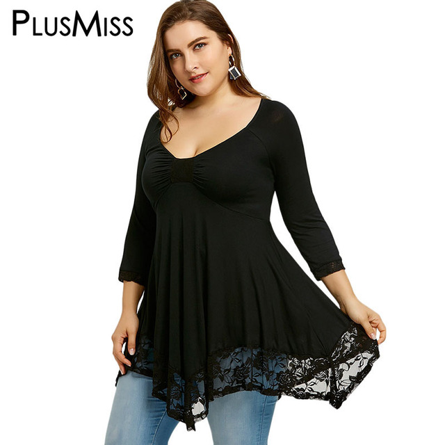 5aceed6172ef0 PlusMiss Plus Size 5XL Sexy Deep V Neck Lace Tunic Top Women Clothing Large  Size Long
