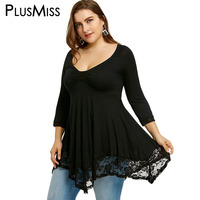 PlusMiss Plus Size 5XL Sexy Deep V Neck Lace Tunic Top Women Clothing Large Size Long
