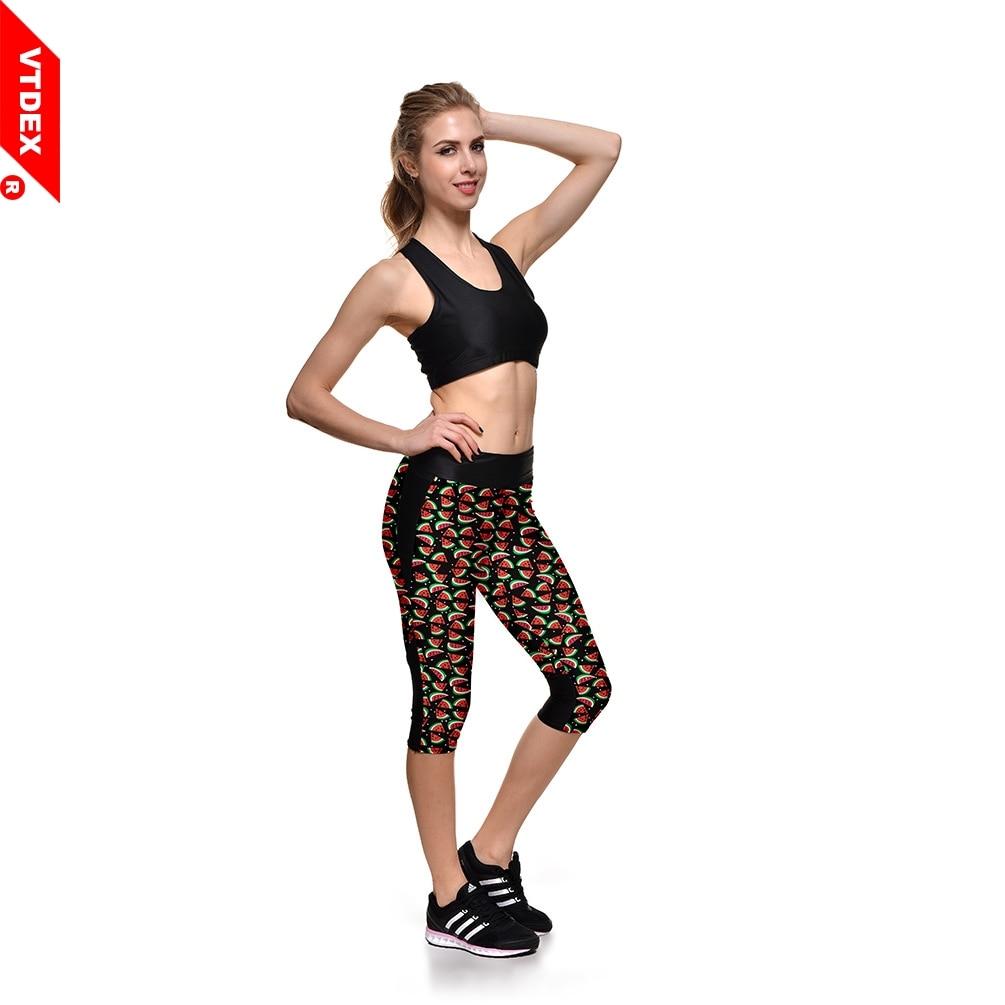 e7896b9af361f2 VTDEX 2017 Brand Women Capri Leggings Watermelon Digital Print Slim  Jeggings Sport Tights Calf Length GYM Fitness Yoga