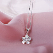 SA SILVERAGE 925 Sterling Silver Flower Long Necklaces Pendants for Women Fine Jewelry 925 Silver Maxi Pendant Necklace Female