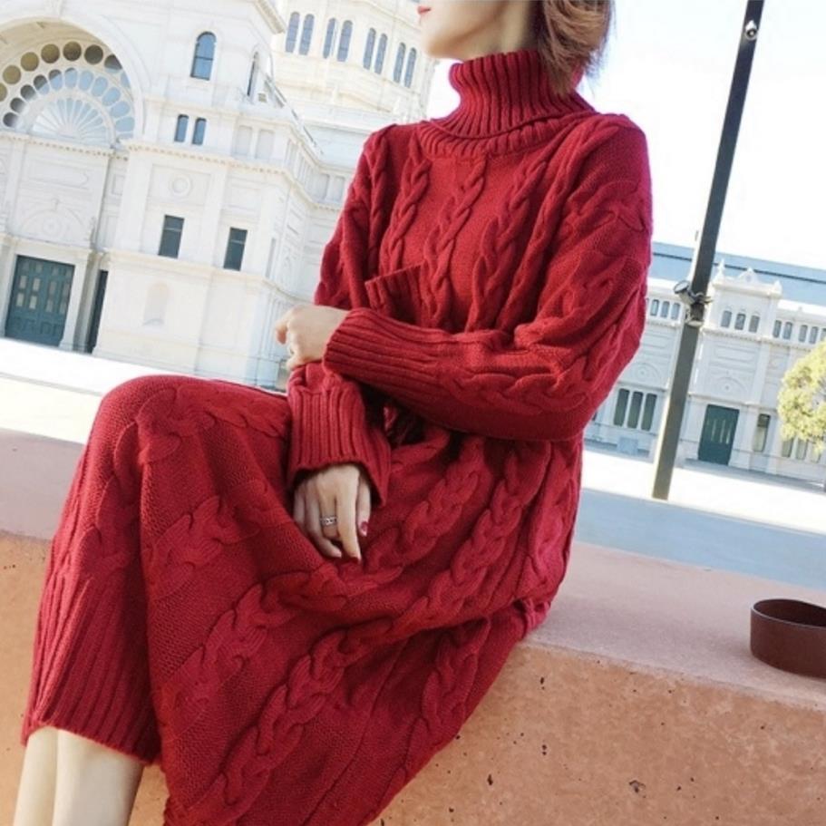 e15d423e56 Blue Vestidos Red De Alto Invierno Suéteres Las Engrosamiento Vestido  Cuello Mujeres Suelto dark Suéter Punto ...