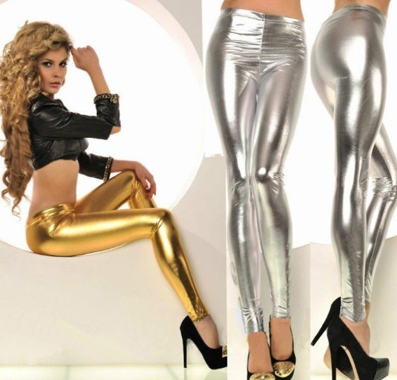 New Latex Legging Mid Waist Faux Leather Leggings
