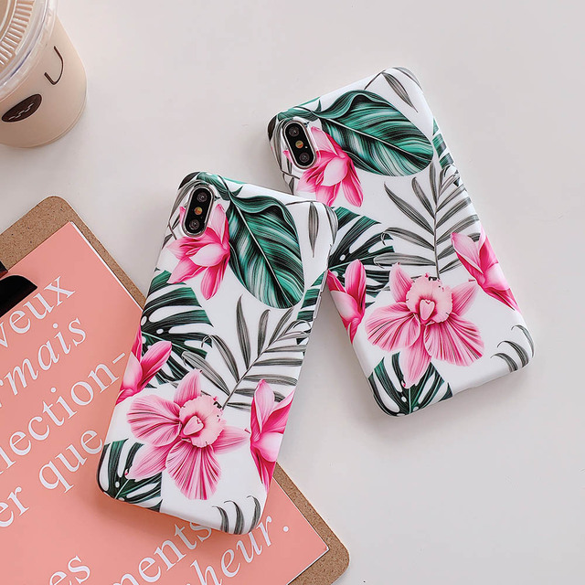 Hot Art Flowers & Banana Leaf Phone Case For iPhone 12 Mini 11 Pro Max XR XS Max 6 7 8 Plus X  Soft IMD Phone Back Cover Cases 4