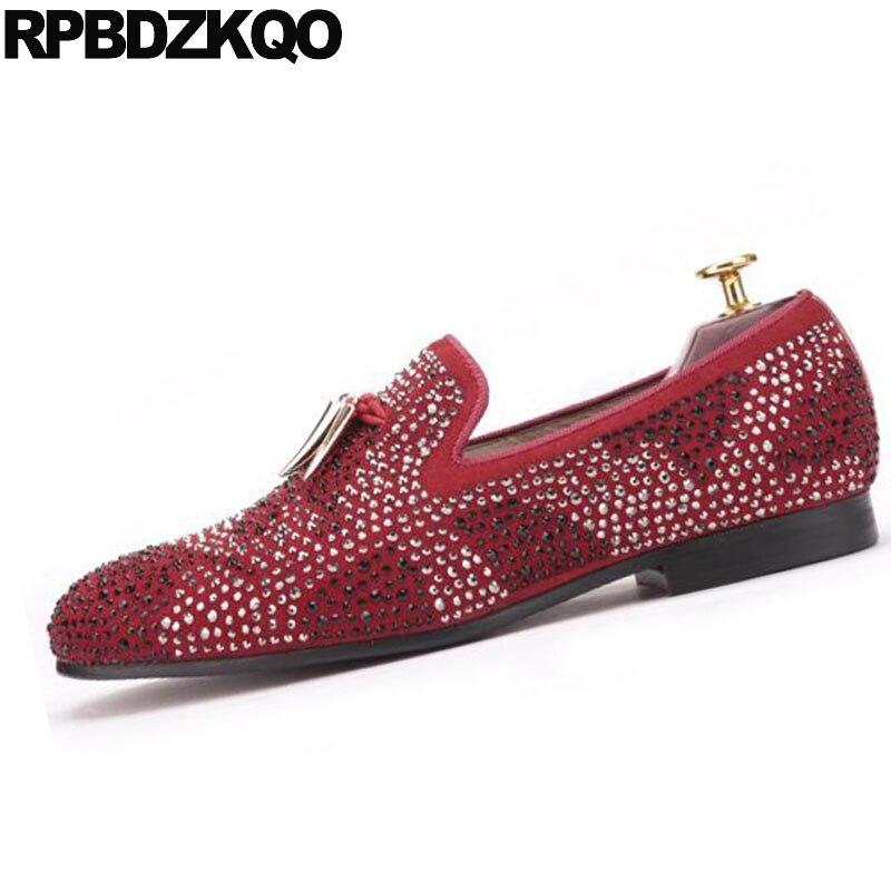 Rot Italien Schuhe Britischen Runway Europäische Stil Größe Loafers Marke rot Große Party 11 Schwarz 47 Beleg Schwarzes Auf Metall Strass Prom Männer Wildleder wUT0vwq