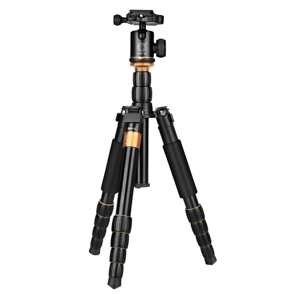 For QZSD Q278 Lightweight Compact Tripod Monopod and Professional Ball Head for Canon Nikon DSLR Camera Portable Camera Stand aluminium alloy professional camera tripod flexible dslr video monopod for photography with head suitable for 65mm bowl size