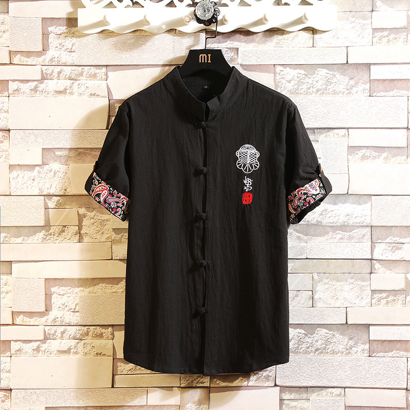 0101 Summer Vintage Cotton Linen Shirt Men Embroidery Retro Short Sleeve Shirt For Men Slim Plus Size 5XL Casual Stand Collar in Casual Shirts from Men 39 s Clothing