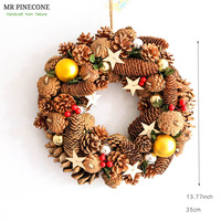 D13.77 Christmas Door Wreath Home Decor Christmas Pendant 2018 Wall Natal Drop Hangings Pinecones Navidad Festival Supplies