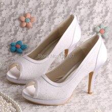 Пользовательские Ручной Очаровательная Белое Кружево Обувь Дамы Свадебные Туфли Peep Toe Высокий Каблук