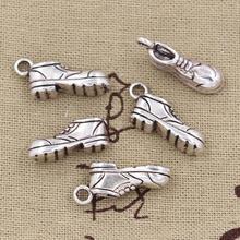 4 Uds. Charms Football Shoes 20x10x7mm ajuste antiguo para hacer colgantes, color plata tibetana Vintage, joyería hecha a mano DIY