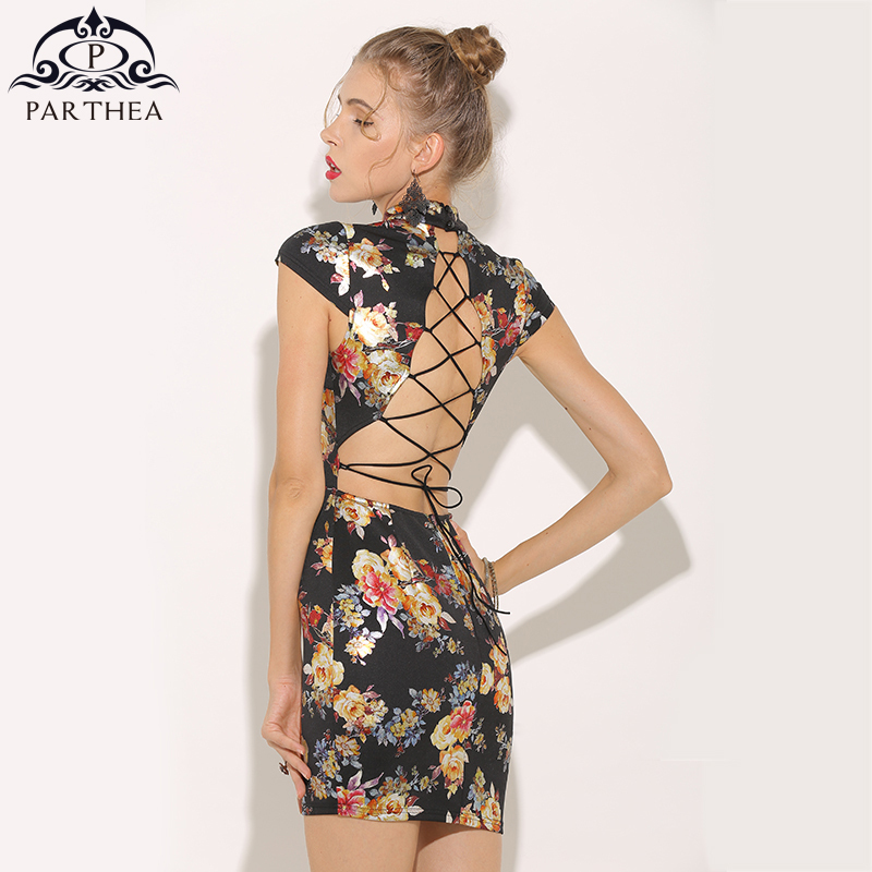 d7527ff515ff2 US $18.56 35% OFF|Parthea Metallic Floral Dress Gold Spray Printed Sexy  Summer Dress Lace Up Backless Women Party Dress Club Mini Dresses  Vestidos-in ...