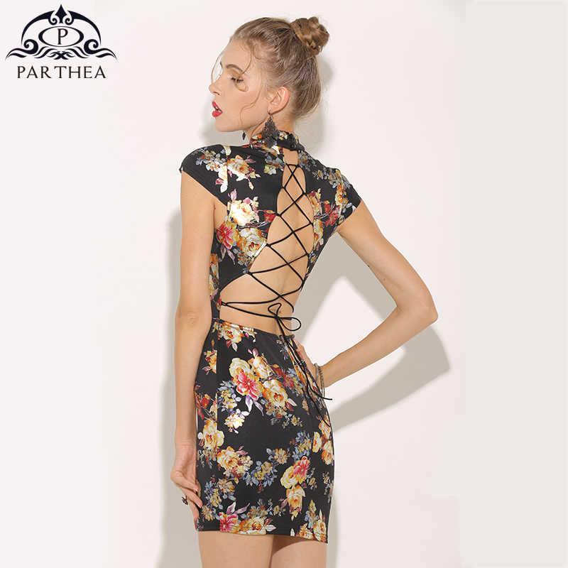 5de396748665 Parthea Metallic Floral Dress Gold Spray Printed Sexy Summer Dress Lace Up  Backless Women Party Dress