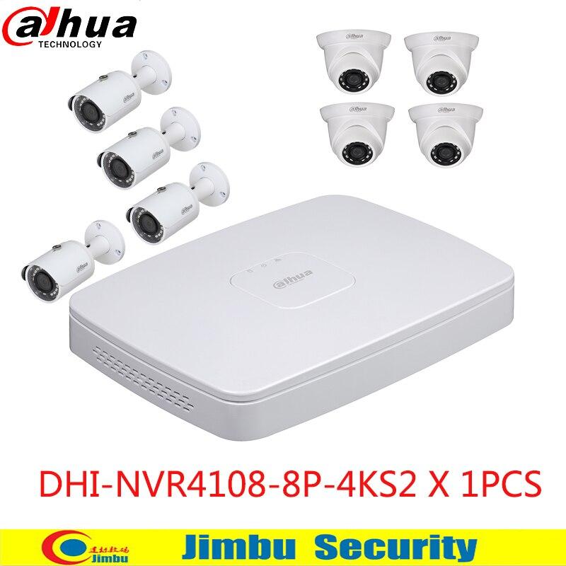original dahua nvr kits 1080p full ip camera H .2658pcs poe work with 4K Network Video Recorder Max 80Mbps Incoming Bandwidth