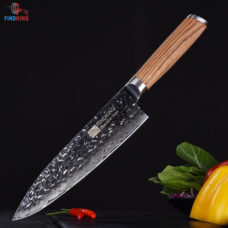Findking Новинка 2017 года Зебра деревянная ручка Дамаск нож 8 дюймов профессиональный нож шеф-повара 67 слоев дамасской стали кухонные ножи