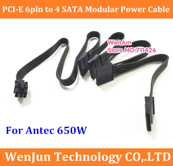 US $5 98  High Quality new PCI E 6 Pin male 1 to 4 SATA 15Pin Power Supply  Splitter Cable Port Multiplier for Antec 650W-in Computer Cables &