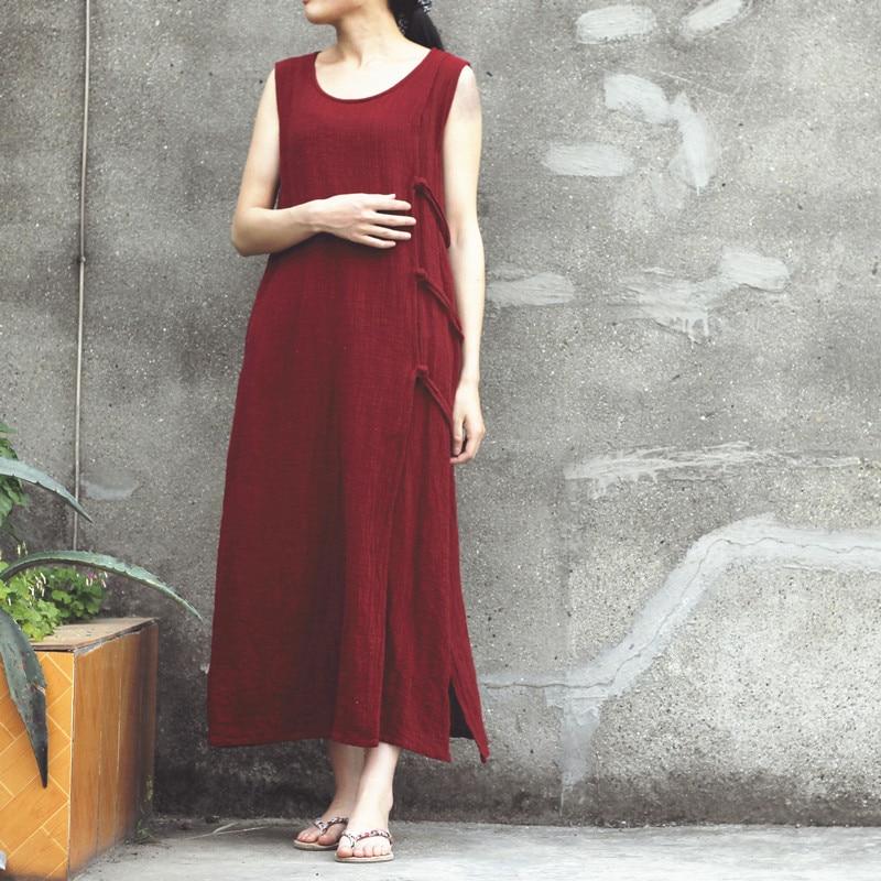 Women Original Fabric Cotton Dress 2018 Summer New Sleeveless Long Tank Dress Slit Side Solid Vintage Maxi Dresses Robe Femme