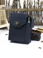 20 Sticks Leather Cigarette Case Personalized Cowhide Bag With Detachable Lighter Set Retro Novelty Gadgets For Men