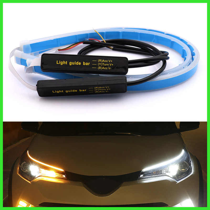 Universal Car DRL LED Daytime Running Lights White Turn Signal Yellow Guide Strip for Headlight Assembly Drop Shipping