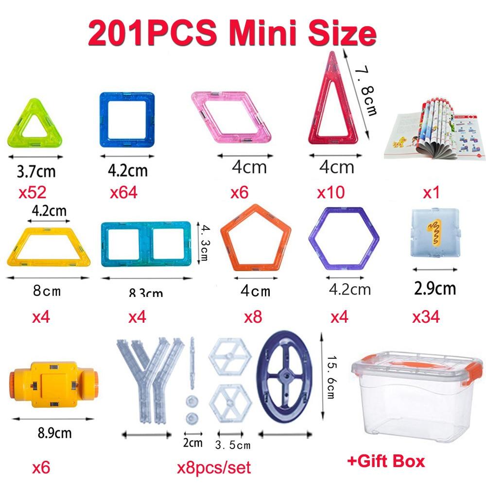 110/201pcs Mini Size Magnetic Toys Construction Set Magnetic Designer 3D Modeling Building Blocks for Children Birthday Gifts