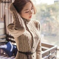 Xnxee 2018 South Korean women's new winter coat twist long cardigan knitted sweater dresses thickened in winter Xnxee