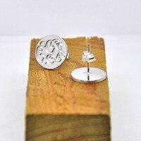 Wholesale Silver Monogram Stud Earring Personalized Initial Stamp Disc Engraved Circle Earrings Bridesmaid Jewelry Pendiente