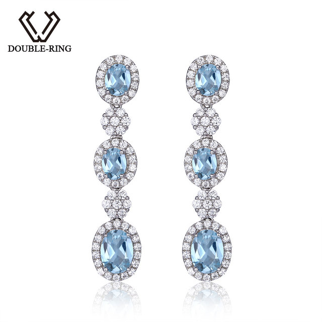 Double R Genuine Natural Blue Topaz Earrings Real 925 Sterling Silver Fine Wedding Jewelry Clic