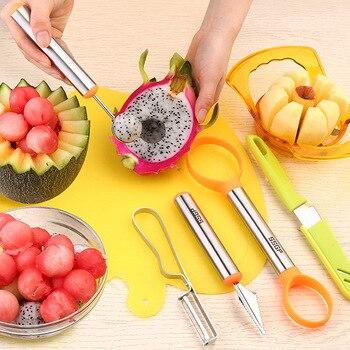 304 нержавеющая сталь пищевой фруктовый диск инструмент для резки фруктовых продуктов набор фруктовых ножей ложка для арбуза нож для резьбы ...