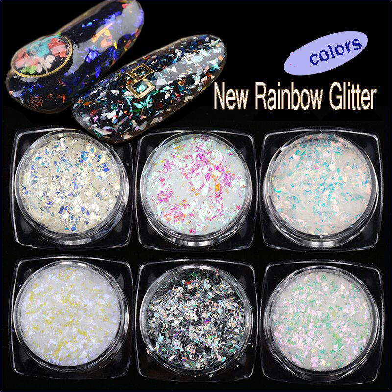6 boxes Lot holographic nail flakes Nail Sequins Hologram Mixed Thin Stripe Colorful Glitter Powder Holographic Nail Flakes 2g in Nail Glitter from Beauty Health