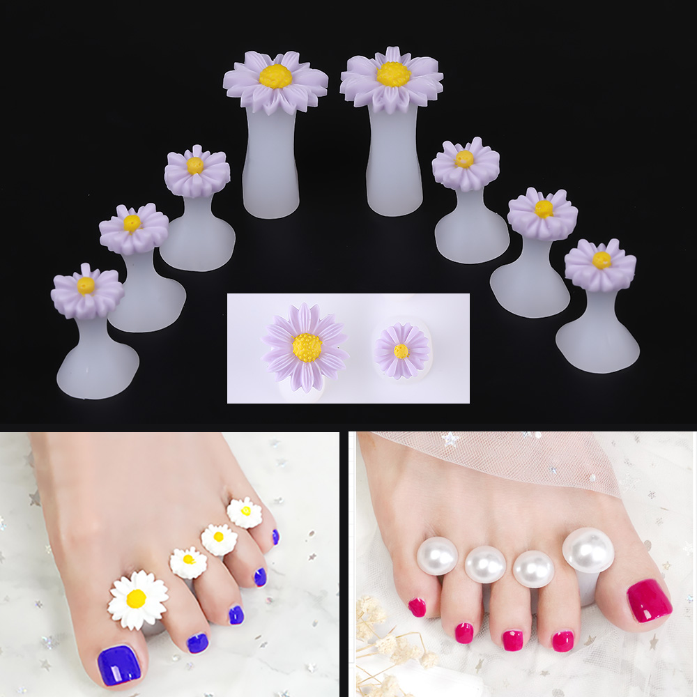 8 Pcs Soft Silicone Toe Separator Foot Finger Divider Form Manicure Pedicure Care Nail Art Tool Flower Holder Accessory