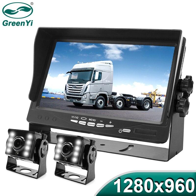 GreenYi High Definition AHD 1280 960 Truck Backup Starlight Night Vision Camera 7 inch Car Reverse