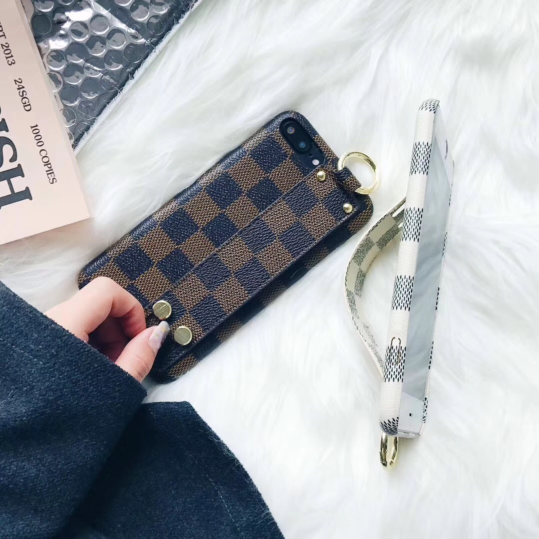 SZYHOME Phone Cases for Iphone X 6 7 8 Plus Vintage Luxury PU Leather Fashion Square Lattice Wrist Strap Holder Phone Back Cover