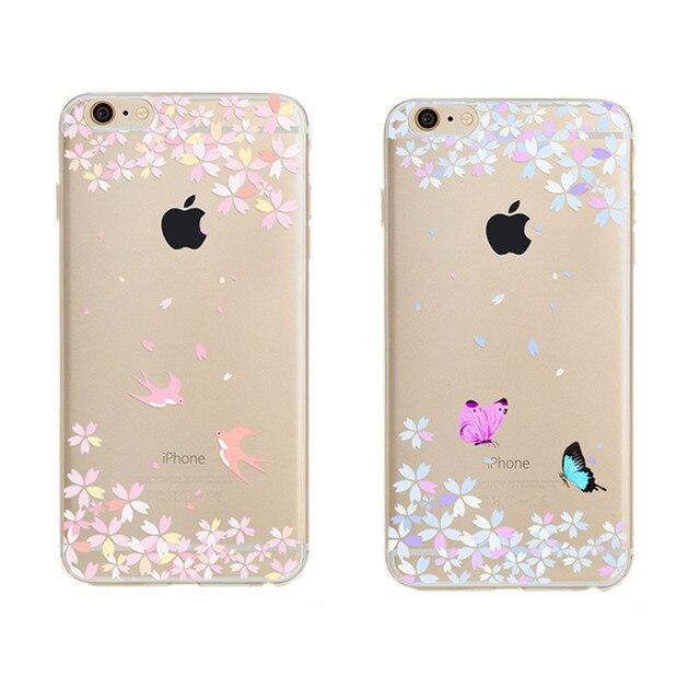 3c0c3f85917 Flor Swallow Mariposa fundas capa Coque Suave de Silicona Transparente Para  el iphone 5 Para el