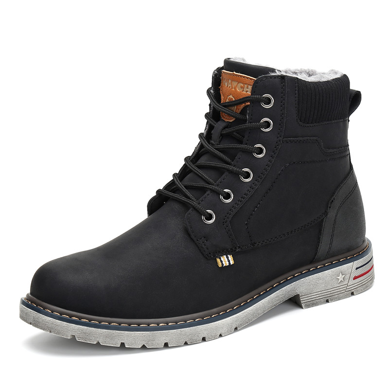 Image 2 - Fashion Winter Shoes Men Military Boots Outdoor Warm Snow Boots Ankle Flat Boots Anti skid Safety Shoes Zapatos De Hombre-in Snow Boots from Shoes