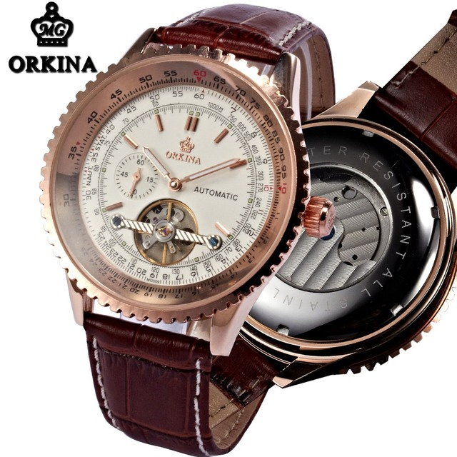 Orkina Tourbillon Mechanical Automatic Luxury Watch Men Rose Gold Large 51MM Big Man Watches Brown Leather Self Wind Wristwatch