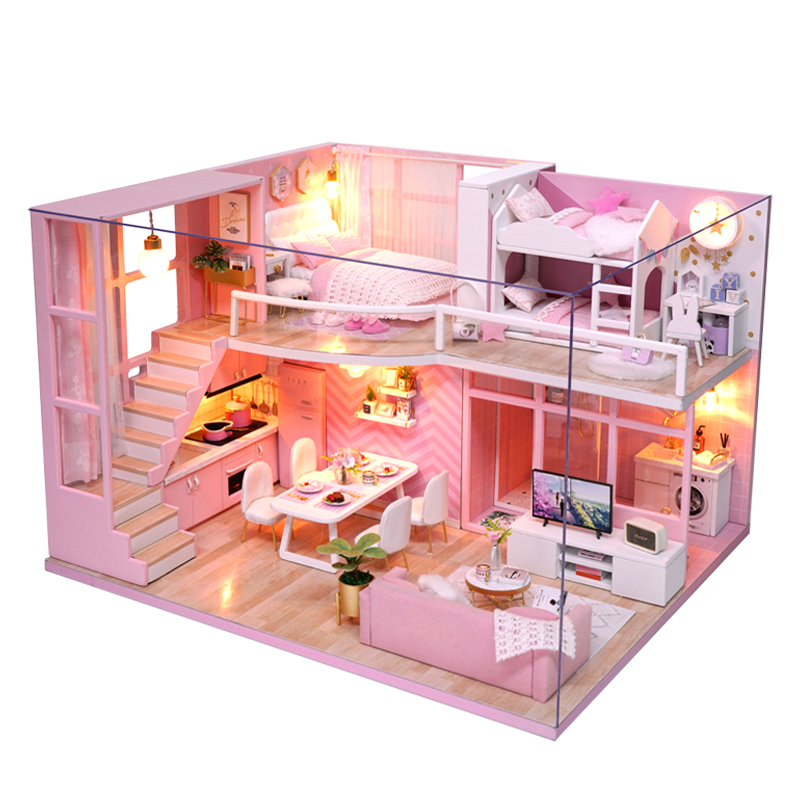 Diy 3d Light Furniture Dust Cover Wooden Miniature House Because I Met You Dollhouse Toys For Children Christmas Birthday Gifts Toys & Hobbies