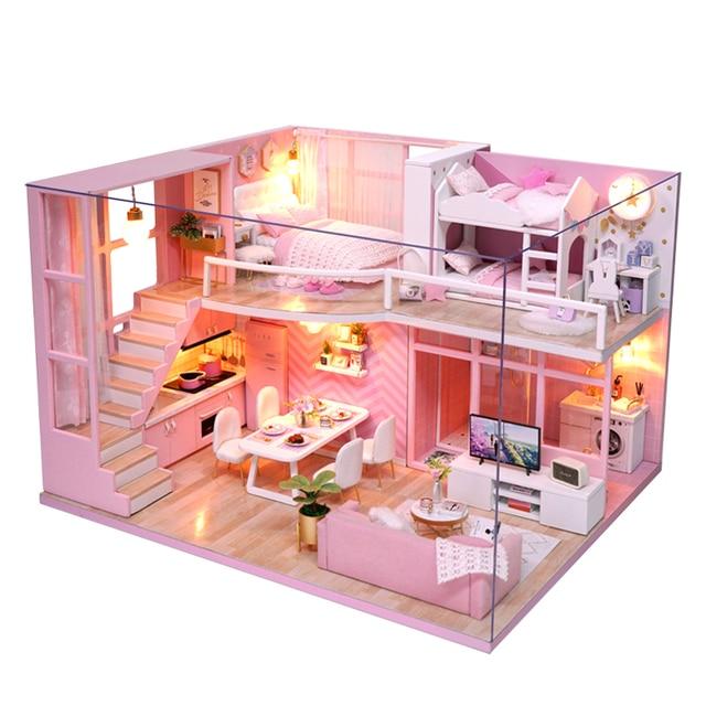 CUTEBEE DIY Kućica za lutke Drvena lutka Kuće Miniature Kućica za lutke Komplet namještaja s glazbom Led Igračke za djecu Rođendanski poklon L026