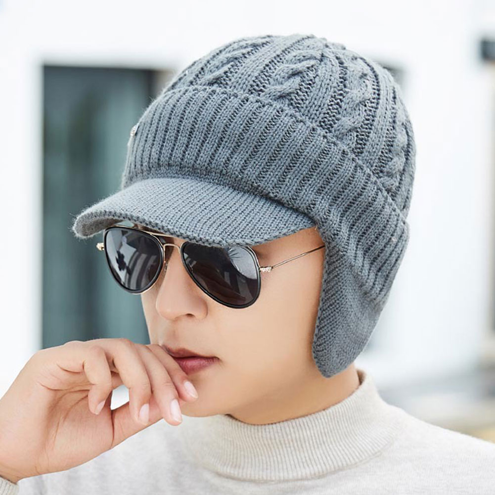 Humorous Earmuffs Knitted Hat Outdoor Warm Winter Thick Men Cap Solid Soft Beanie Cold-proof Cycling Lining Bonnet Skullies