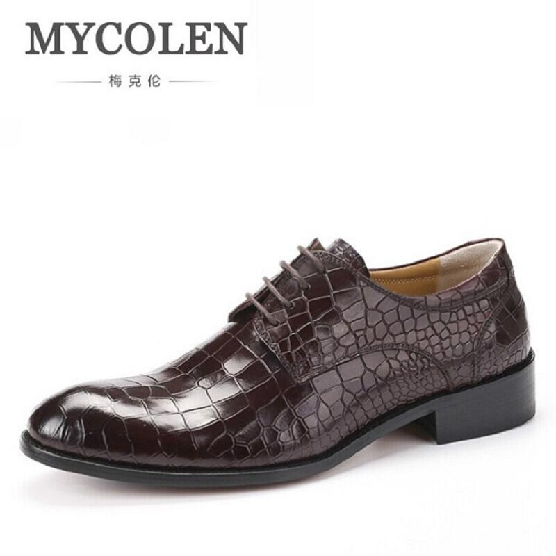MYCOLEN New Fashion Casual Mens Dress Shoes Leather Crocodile Lace-up Italian Flat Formal Oxfords sapatos social masculino 2017 men shoes fashion genuine leather oxfords shoes men s flats lace up men dress shoes spring autumn hombre wedding sapatos