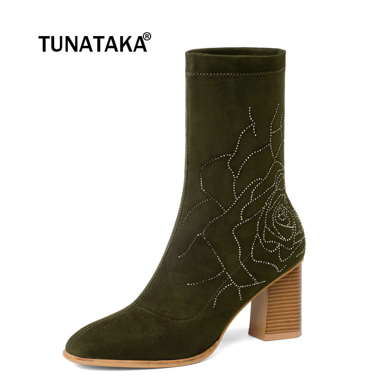 Female Suede Thick High Heel Ankle Boots Fashion Crystal Slip On Round Toe Women Fall Winter Bootie Black Green female platform thick high heel ankle boots fashion slip on sock boots women comfort round toe fall winter shoes black