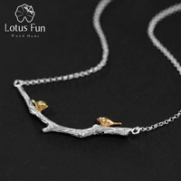 Lotus Fun 925 Sterling Silver Necklaces Pendants for Women Two Birds on Branch Chain Collar Necklace Fashion Jewelry Dropship