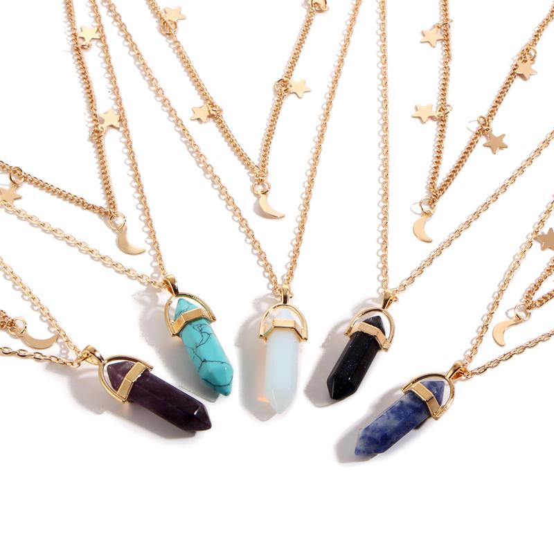 HTB1LUTKQFXXXXbzXXXXq6xXFXXXg - Moon Star Choker necklaces for Women Gold Color Double Layer Crystal Pendant Necklace Jewelry PTC 262